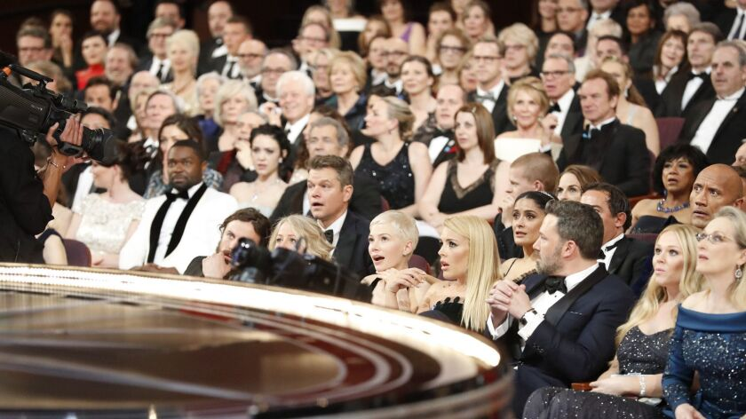 "The stunned audience after best picture winner ""La La Land"" was discovered to be read by mistake, from backstage at the 89th Academy Awards on Sunday, Feb. 26, 2017."