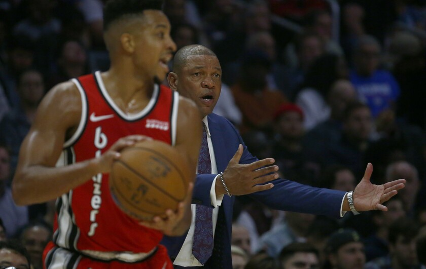 Clippers head coach Doc Rivers coaches against the Portland Trail Blazers in the fourth quarter at Staples Center on Wednesday.