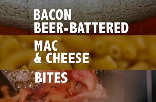 Bacon beer-battered mac and cheese bites