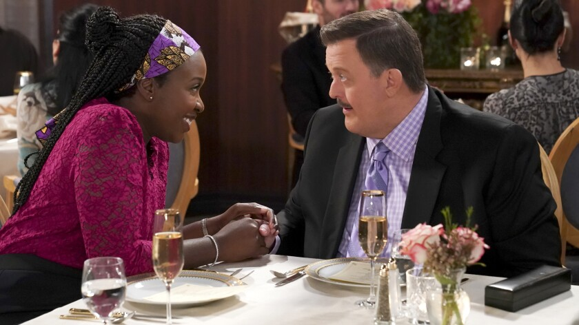 "Bob (Billy Gardell) and Abishola (Folake Olowofoyeku) celebrate Valentine's Day on a new episode of the romantic comedy ""Bob Hearts Abishola"" on CBS."