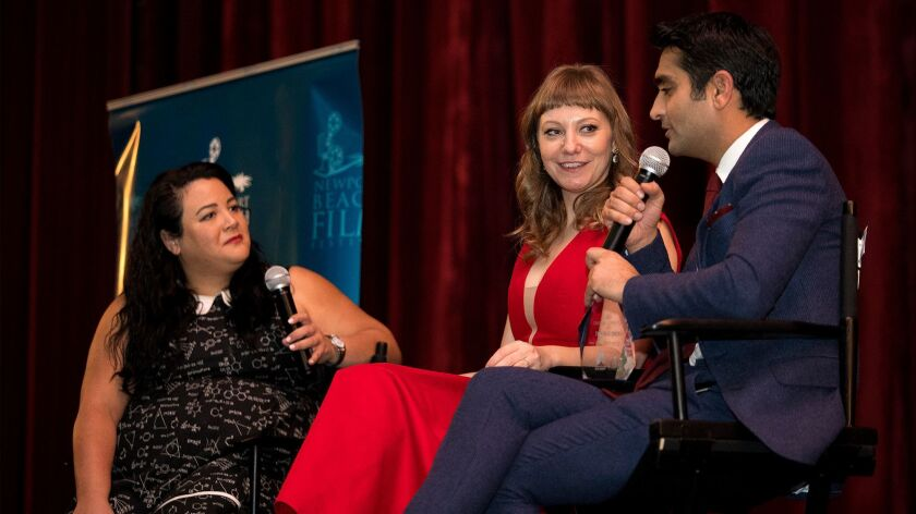 Emily V. Gordon and Kumail Nanjiani talk with Variety editor, Jenelle Riley during a Q&A following a