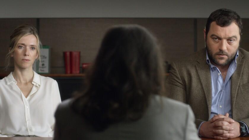 "Lea Drucker as Miriam Besson and Denis Menochet as Antoine Besson in the film ""Custody."" Credit: Kin"