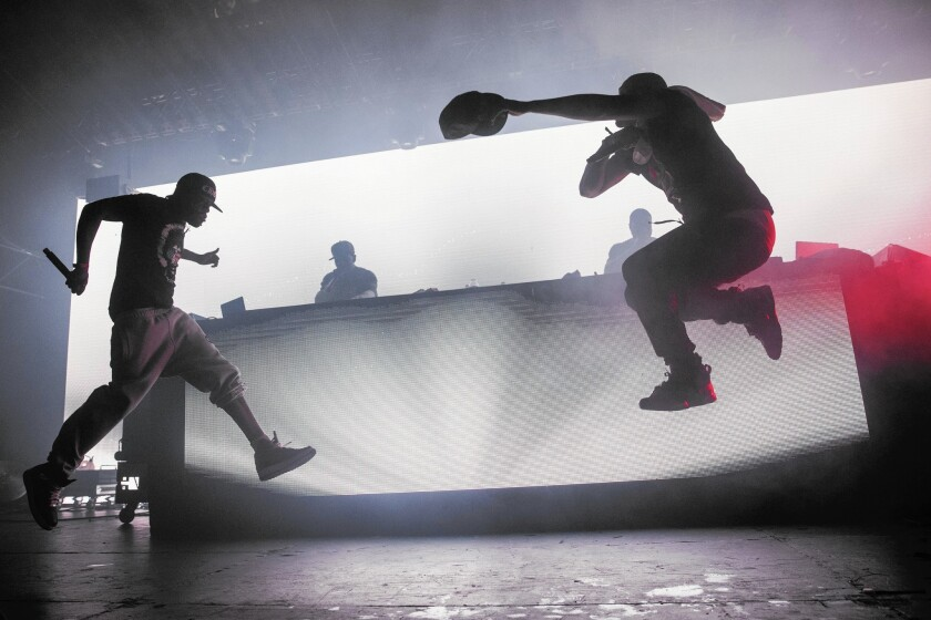 Method Man and Redman perform during the Hard Day of the Dead Halloween-themed rave at the Pomona Fairplex on Oct. 31, 2015.