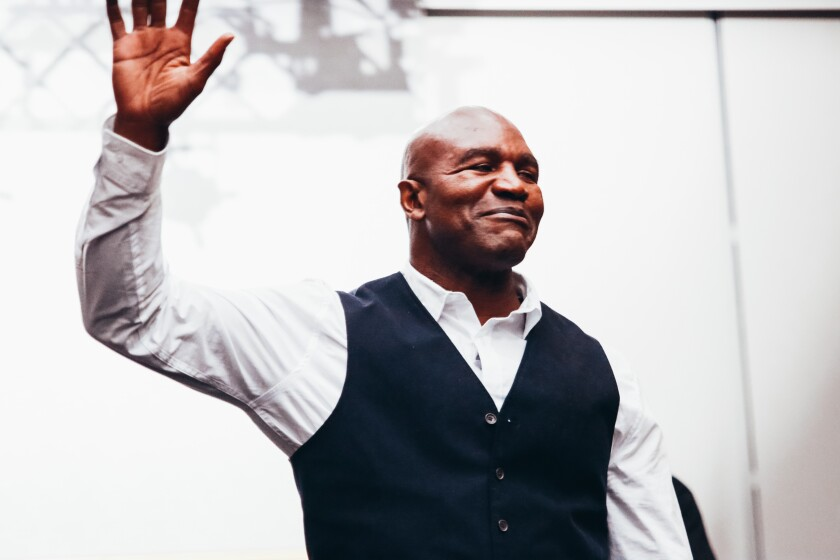 Boxing legend Evander Holyfield prior to his