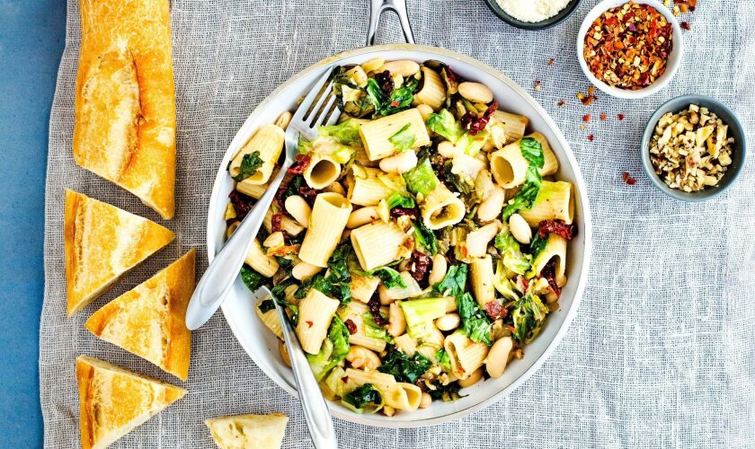 Rigatoni with Escarole, Cannelli Beans, Sun-Dried Tomatoes and Walnuts.