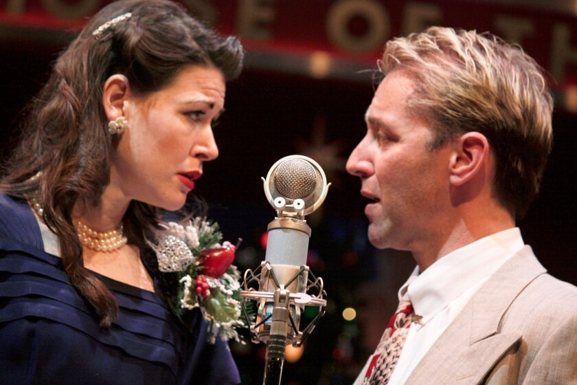 """Amanda Sitton and Tom Andrew in Cygnet Theatre's """"It's a Wonderful Life: A Live Radio Play."""""""