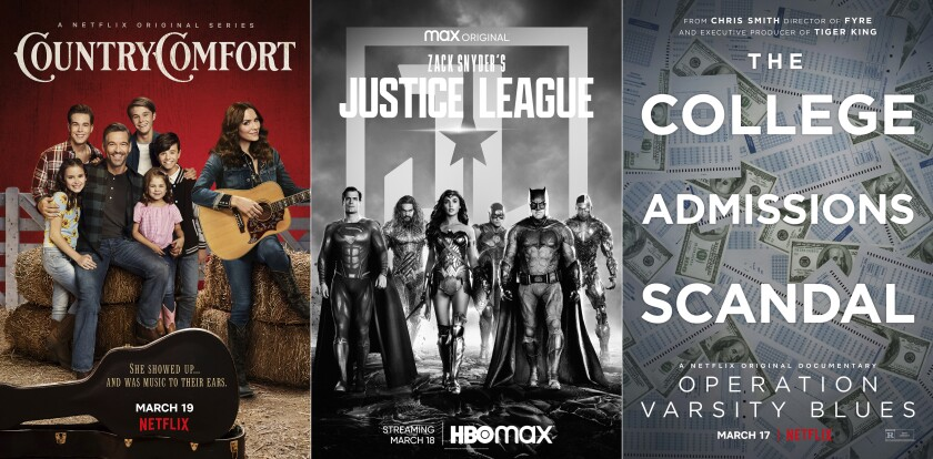 """This combination of photos shows promotional art for the Netflix series """"Country Comfort,"""" debuting on Friday, left, """"Zack Snyder's Justice League,"""" premiering March 18, center, and """"Operation Varsity Blues,"""" a documentary about the college admissions scandal, premiering March 17 on Netflix. (Netflix/HBO Max/Netflix via AP)"""