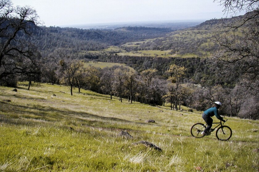 Bidwell Park mountain biking high over Chico, Calif.