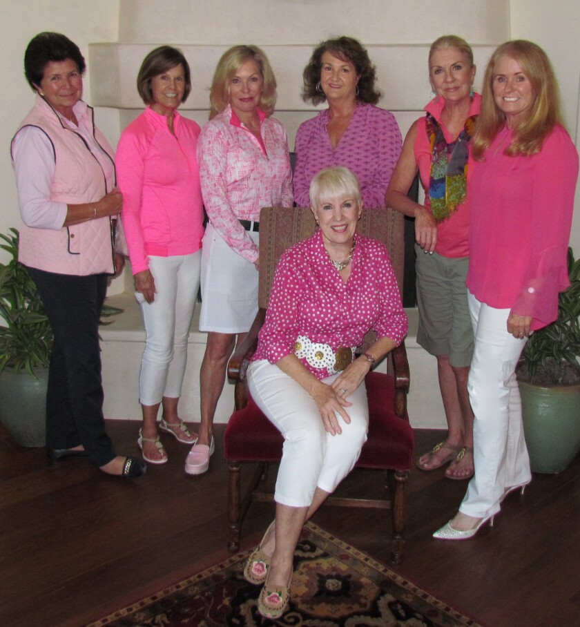 Seated: Play for P.I.N.K. Honorary Chairwoman Sharon Considine; Standing: Women's Golf Board and Committee Members: (l-r) Pat Newmark, Diane Culp, Michele Homan, Becky Vigil, Janet Christ and Kris Charton.