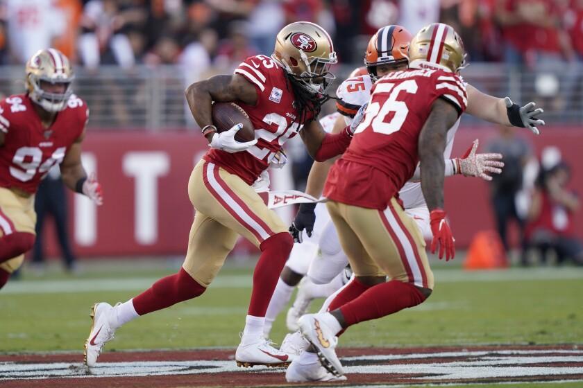 San Francisco 49ers cornerback Richard Sherman (25) returns an interception against the Cleveland Browns during the first half of an NFL football game in Santa Clara, Calif., Monday, Oct. 7, 2019. (AP Photo/Tony Avelar)