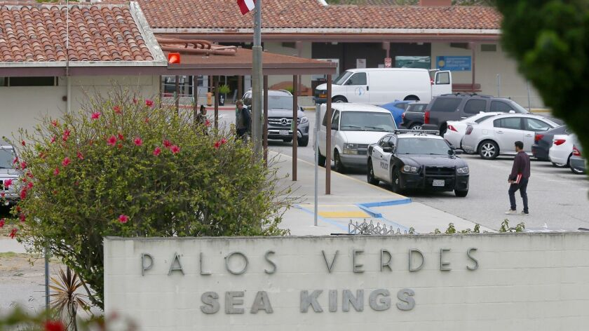 PALOS VERDES ESTATES, CALIF. - MAY 15 2019. Exterior of Palos Verdes High School, A social media pos