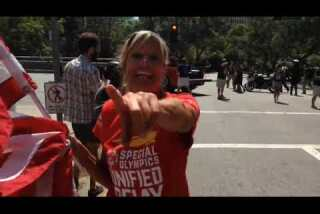 Special Olympics torch carried through downtown L.A.