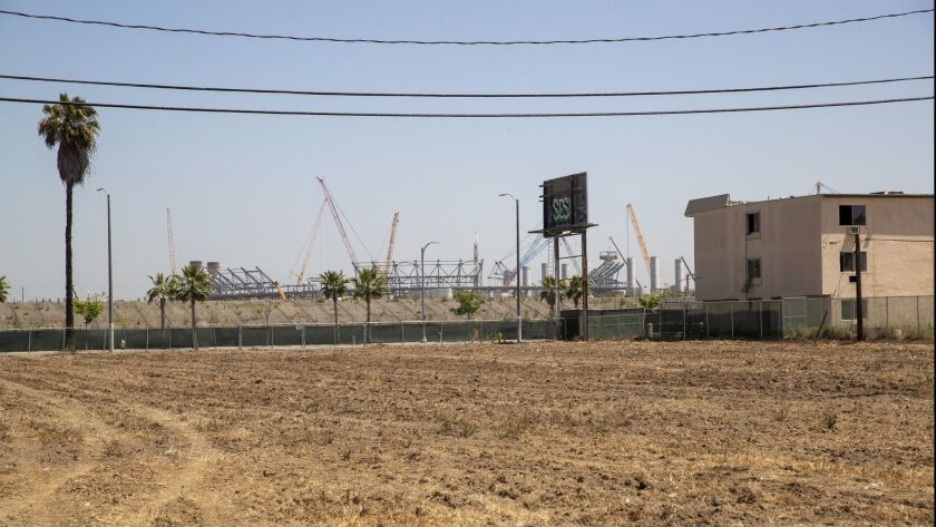 The site of the proposed Clippers arena project in Inglewood.