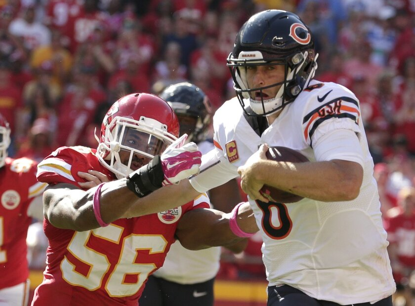 FILE - In this Oct. 11, 2015 file photo, Chicago Bears quarterback Jay Cutler (6) breaks a tackle by Kansas City Chiefs linebacker Derrick Johnson (56) during the second half of an NFL football game in Kansas City, Mo. During their four-game win streak, the Chiefs have benefited from some of their biggest stars finally getting back to speed. Johnson is resembling a Pro Bowl linebacker again after he tore his Achilles tendon last season, while Eric Berry likewise looks like a Pro Bowl safety less than a year removed from a cancer diagnosis that required chemotherapy. (AP Photo/Charlie Riedel, File)