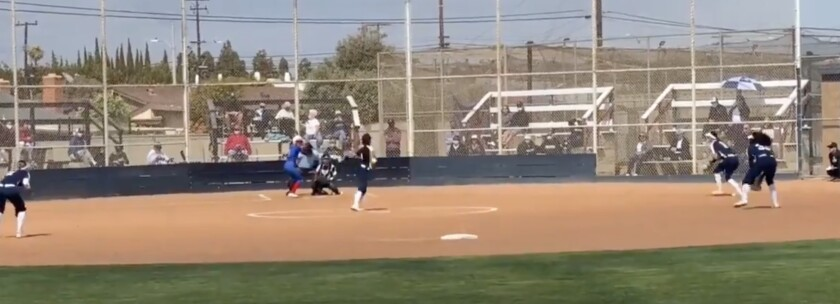 Between pitches during Pacifica's stunning 3-2 victory over No. 1 Los Alamitos.