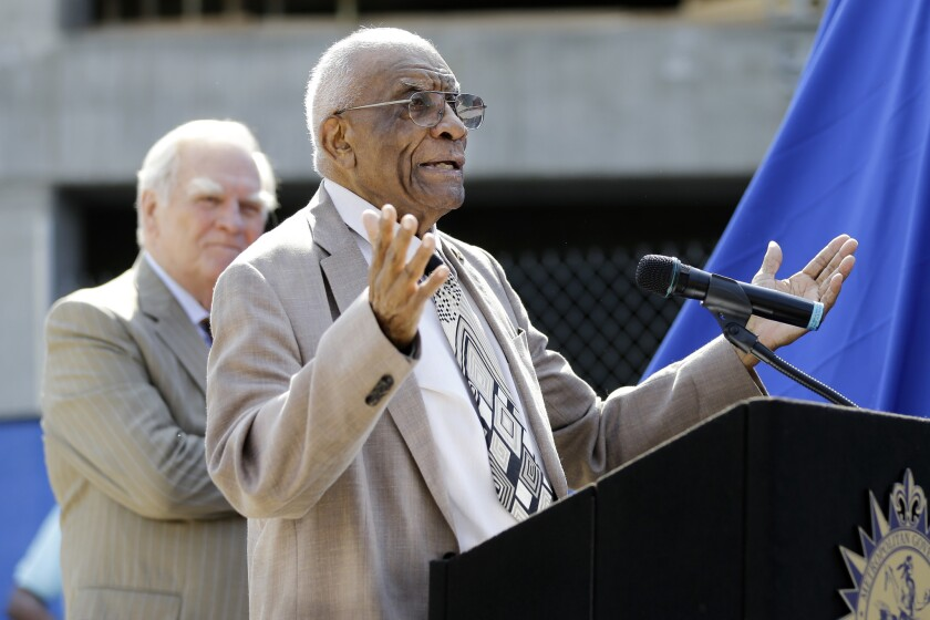 Former Tennessee State and Olympic women's track coach Ed Temple speaks during the dedication of his statue in Nashville, Tenn., in 2015