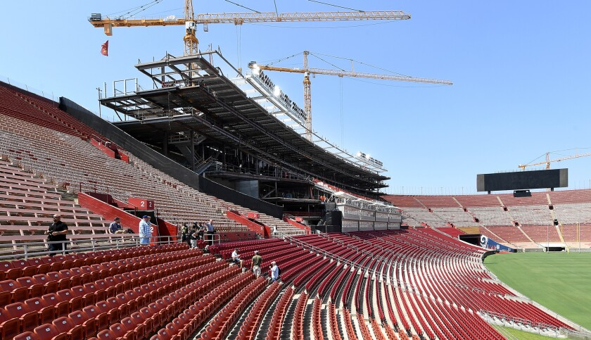 A view of the new seats as construction continues on the new suites, owner boxes and press box at the Coliseum.