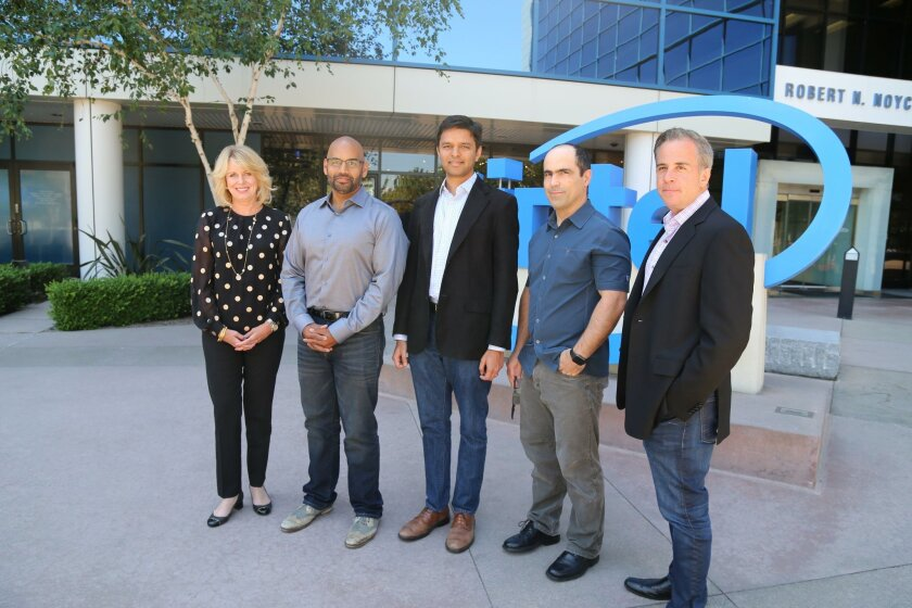 Intel is buying San Diego's Nervana Systems. Pictured are Intel's Diane Bryant with Nervana co-founders Naveen Rao, Arjun Bansal, Amir Khosrowshaki and Intel vice president Jason Waxman
