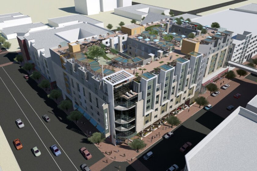 A rendering of the Eleve Lofts & Skydeck apartment and retail complex being built on the former site of a Circuit City store in downtown Glendale.