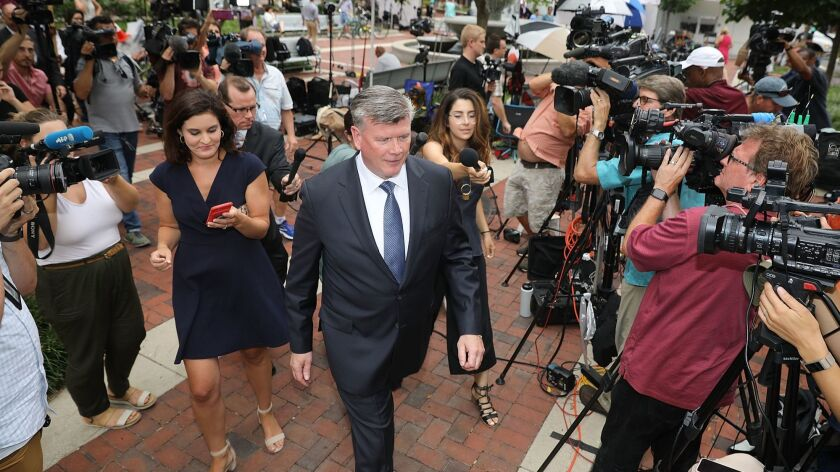 Kevin Downing, lead attorney for Paul Manafort, outside the federal courthouse in Alexandria, Va., on Friday.