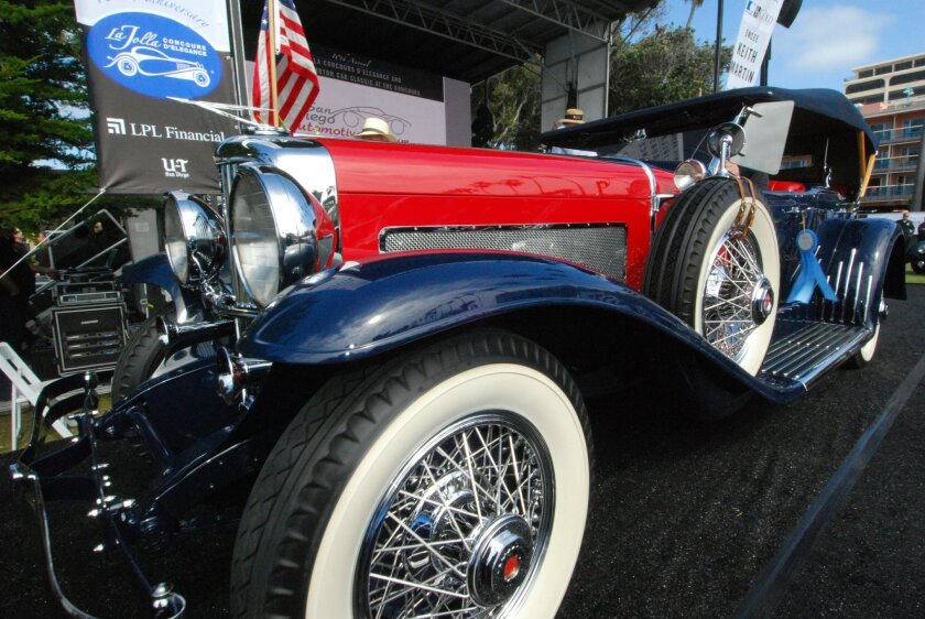 Doug Skeen's 1929 Duesenberg Model J Dual Cowl Phaeton received Reserve Best in Show at the 2014 La Jolla Concours d'Elegance auto show.