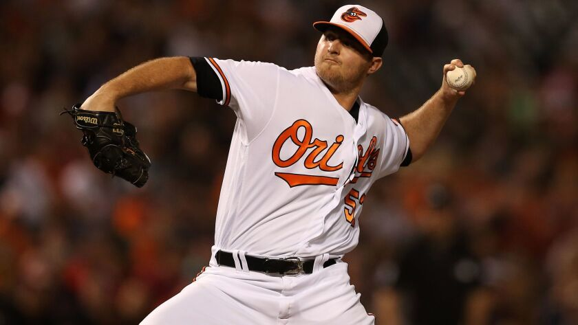 The Orioles' Zach Britton works in the ninth inning against the Boston Red Sox at Oriole Park at Camden Yards on Sept. 22, 2016 in Baltimore, Md.