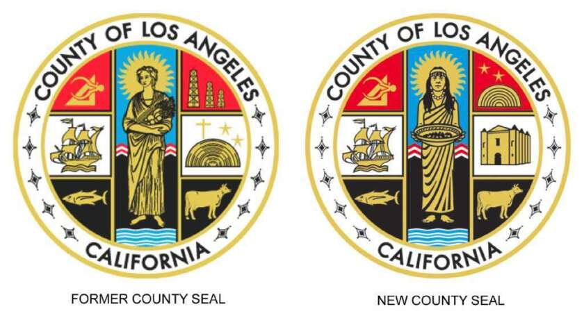 The current official seal of Los Angeles County (right) replaced a previous version in 2004 (left) that contained a Christian cross. Two county supervisors have proposed restoring the cross to the seal.