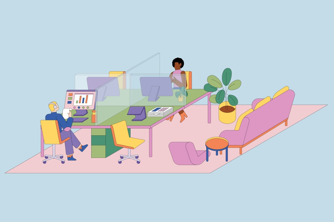 An illustration shows an office with shields around desks and an open office for meetings.