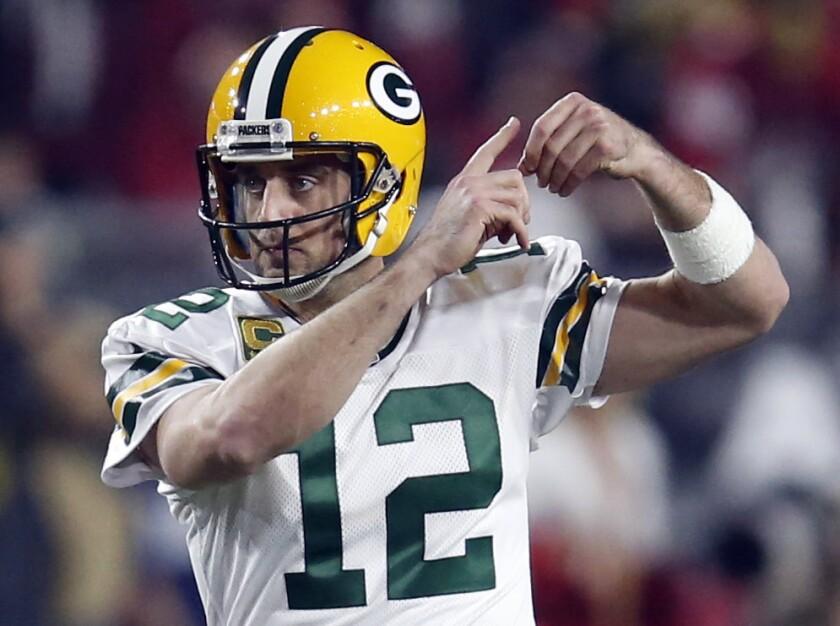 Green Bay quarterback Aaron Rodgers plays against Arizona on Jan. 16.