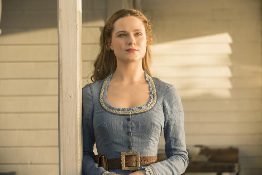"""Evan Rachel Wood as park """"host"""" Dolores in """"Westworld."""""""
