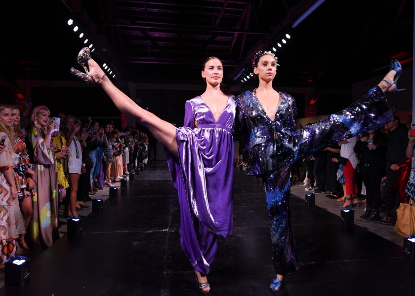 Members of the American Contemporary Ballet model looks by designer Cynthia Rowley during a show in L.A. on Wednesday.