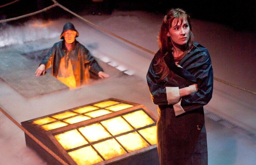 "Bill Buell and Jessica Love in the Old Globe Theatre's ""Anna Christie."""