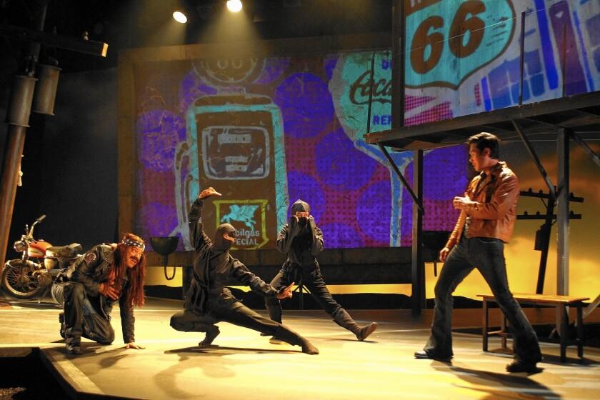 "Paco Tolson, Maureen Sebastian, Samantha Quan and Raymond Lee in South Coast Repertory's ""Vietgone."""