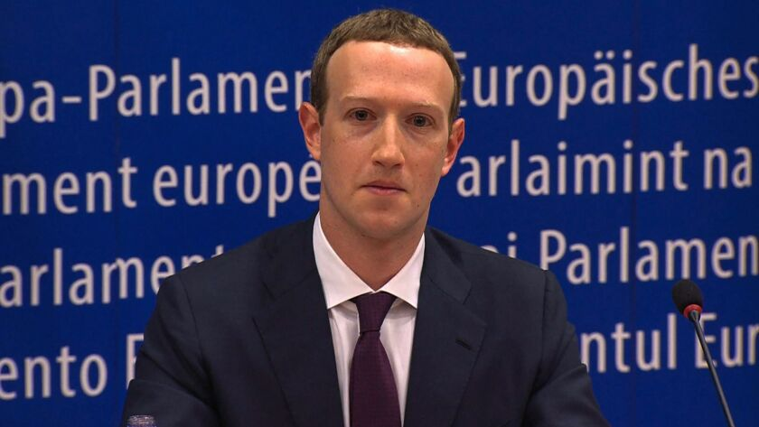 Facebook CEO Mark Zuckerberg at the European Parliament.