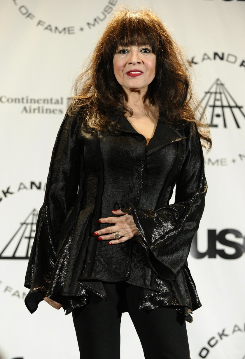 FILE - This March 15, 2010 file photo shows singer Ronnie Spector in the press room after performing at the Rock and Roll Hall of Fame induction ceremony in New York. Music icons Shirley Alston Reeves, Gene Cornish and Ronnie Spector will take the stage as special guest stars for a one-night-only concert June 20, 2015, at New York City's Beacon Theatre. (AP Photo/Peter Kramer, File)