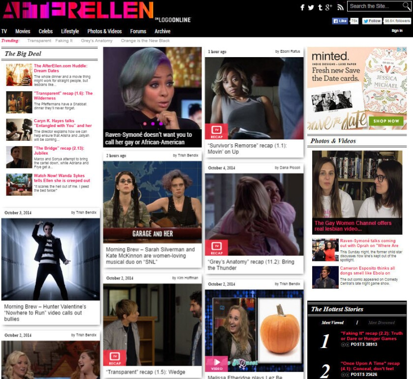 AfterEllen.com writes about lesbians in entertainment and about popular culture from a lesbian perspective.