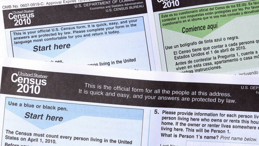 Copies of the 2010 Census forms in Phoenix. The 2020 U.S. Census will add a question about citizenship status, a move that brought swift condemnation from Democrats who said it would intimidate immigrants and discourage them from participating.