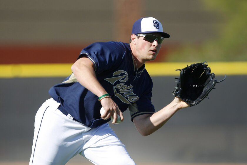 Padres Hunter Renfroe fields balls during a spring training practice.