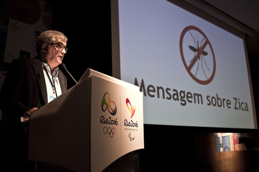 Rio2016 communications director Mario Andrada gestures during a news conference about the outbreak of the Zika virus in Brazil. Olympic organizers are confident the problem will have cleared up by the start of the Games.
