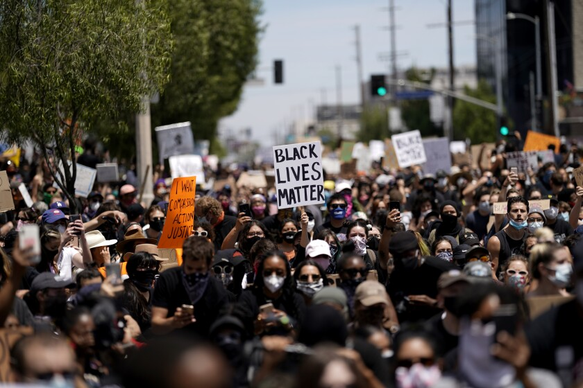 Demonstrators fill Pan Pacific Park in Los Angeles on May 30, 2020.