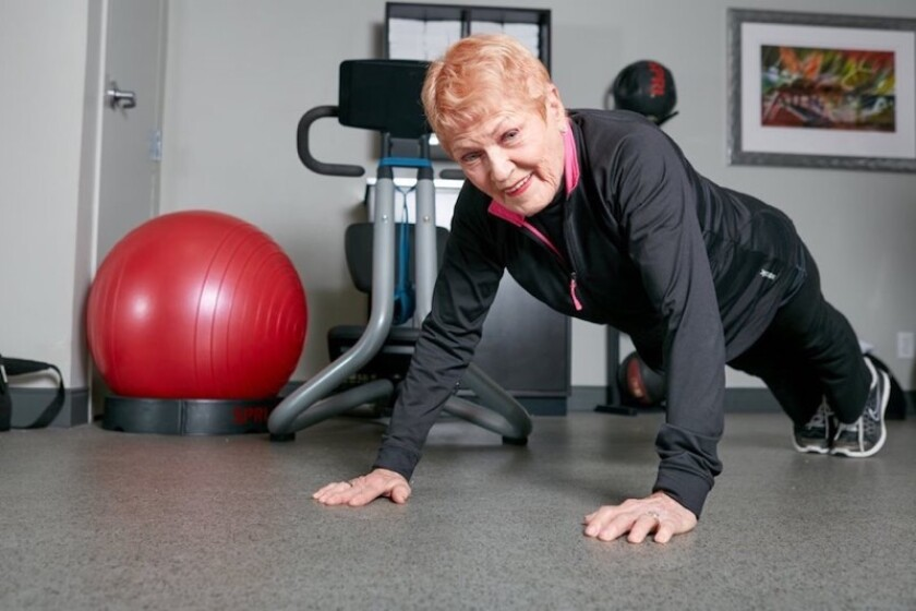 Fitness expert Elaine LaLanne exercises daily at age 94, including push-ups.