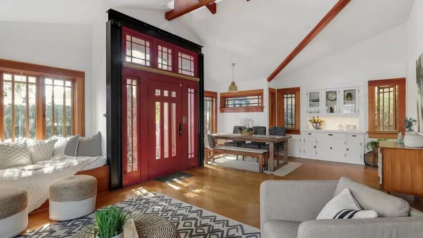 Celebrity Dining: White walls form a backdrop for Craftsman details at Elijah Wood's Venice rental units.