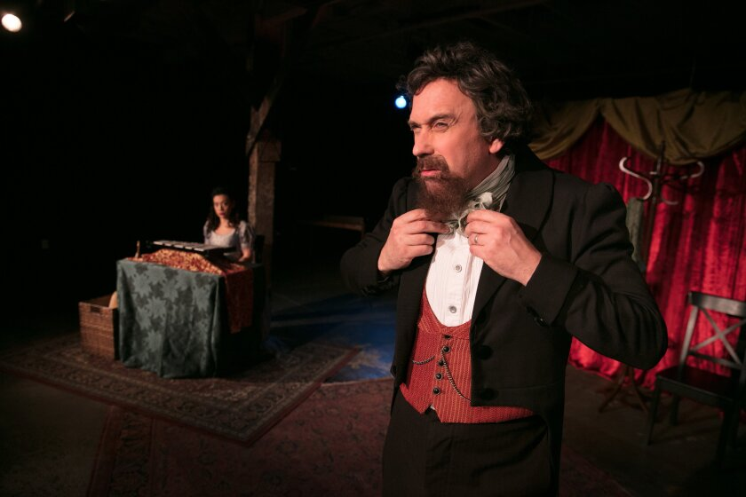 David Melville, right, portrays Charles Dickens in the Independent Shakespeare Company's staging.