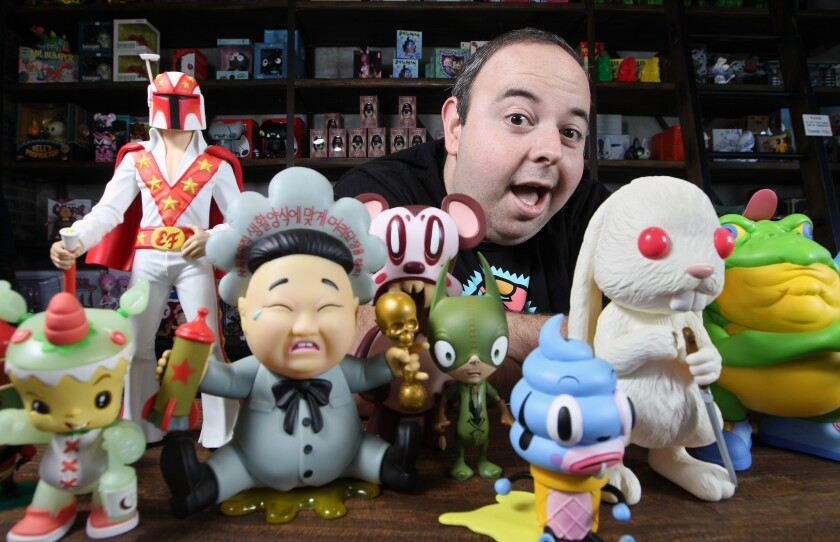 Ben Goretsky, owner of 3D Retro in Glendale, is coordinating the upcoming Designer Con in Pasadena, a conventions that mixes collectible toys and designer goods with urban, underground and pop art. Photographed on Thursday, November 12, 2015.