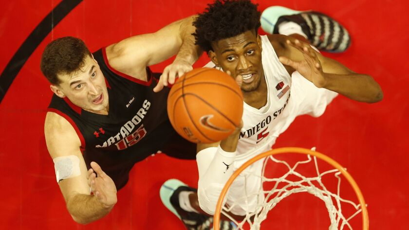 Jalen McDaniels (right) and SDSU open the Mountain West season on Saturday night at Boise State.