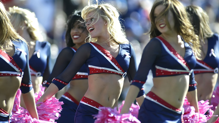 A judge in New York ruled this week that a wage lawsuit against the NFL's Buffalo Bills can continue, despite the team's claim that the cheerleaders are not its employees. Here, in a file photo, members of the Jills squad perform in 2012.