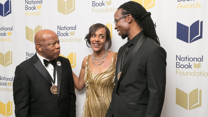 2016 National Book Award winners Rep. John Lewis, left and Ibram X. Kendi, right, with National Book Foundation director Lisa Lucas.