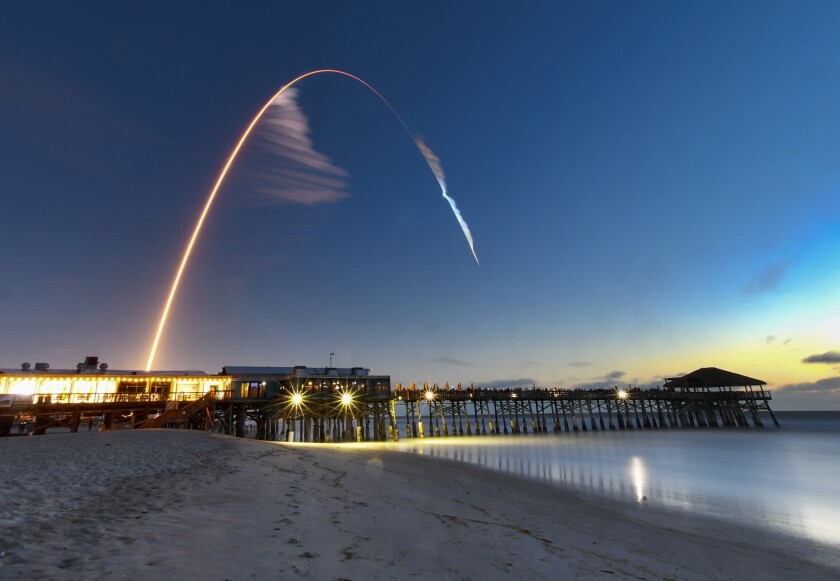 Boeing's Starliner capsule lifts off from Cape Canaveral in this four-minute time exposure.