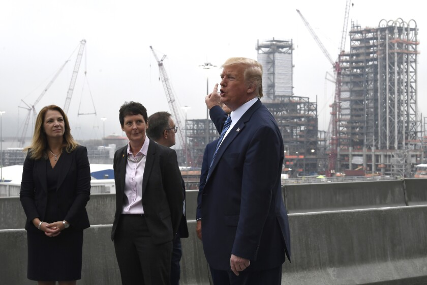 President Trump views construction during a visit to Shell's Pennsylvania Petrochemicals Complex in Monaca, Penn., in August