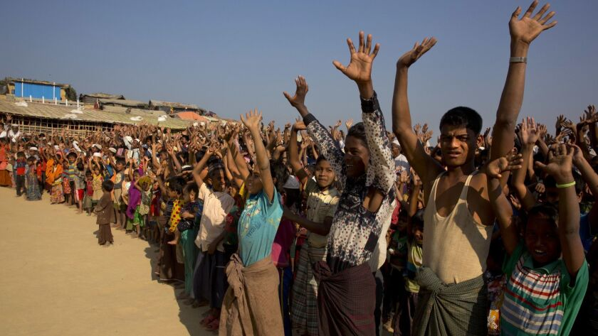 Rohingya refugees participate in a demonstration in Bangladesh on May 31.